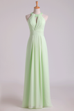 2019 Sexy Scoop A Line Bridesmaid Dresses Chiffon With Beads