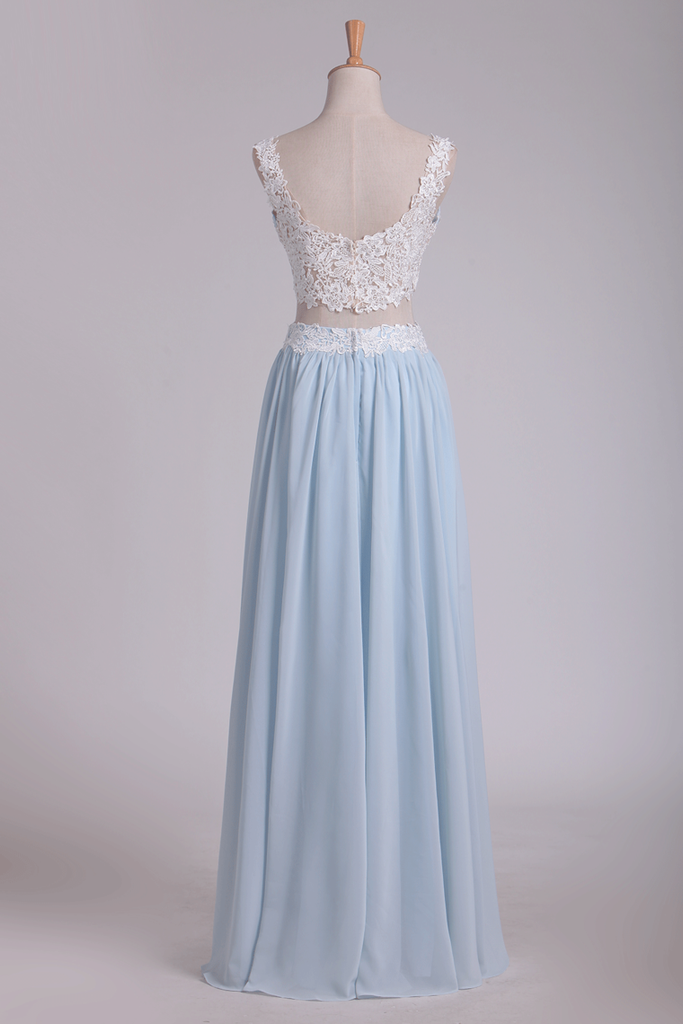 2019 Two-Piece Spaghetti Straps A Line With Applique And Ruffles Chiffon Prom