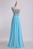 2019 Sweetheart Prom Dresses A-Line Chiffon Floor Length With