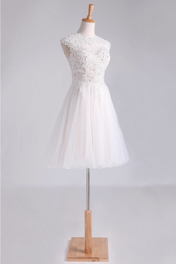 2019 Homecoming Dresses Scoop Short/Mini A Line Tulle With Applique And Beading