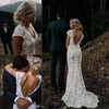 Charming Mermaid Lace Ivory Cap Sleeves Wedding Dresses, Bridal Dresses SSA15569