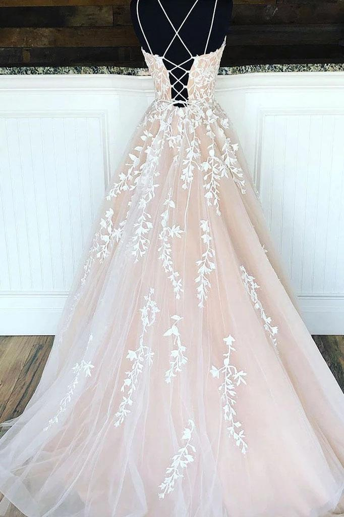 Princess Spaghetti Straps A Line Appliques Tulle Lace up Pink Prom Dresses SSA15305