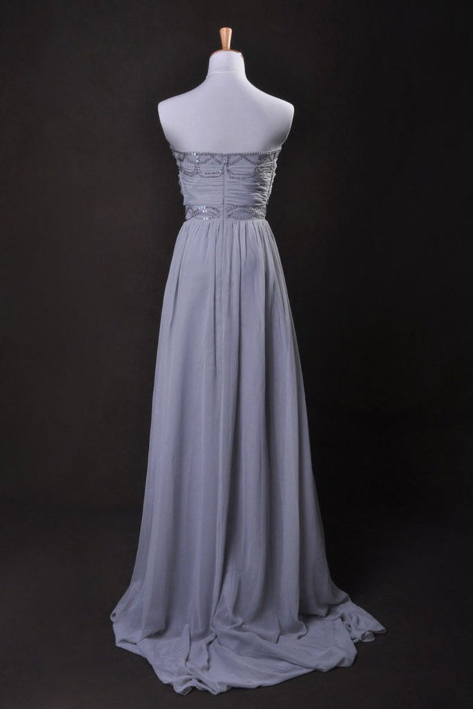 Silver Prom Dress A Line Strapless Floor Length Sweep/Brush Train Chiffon