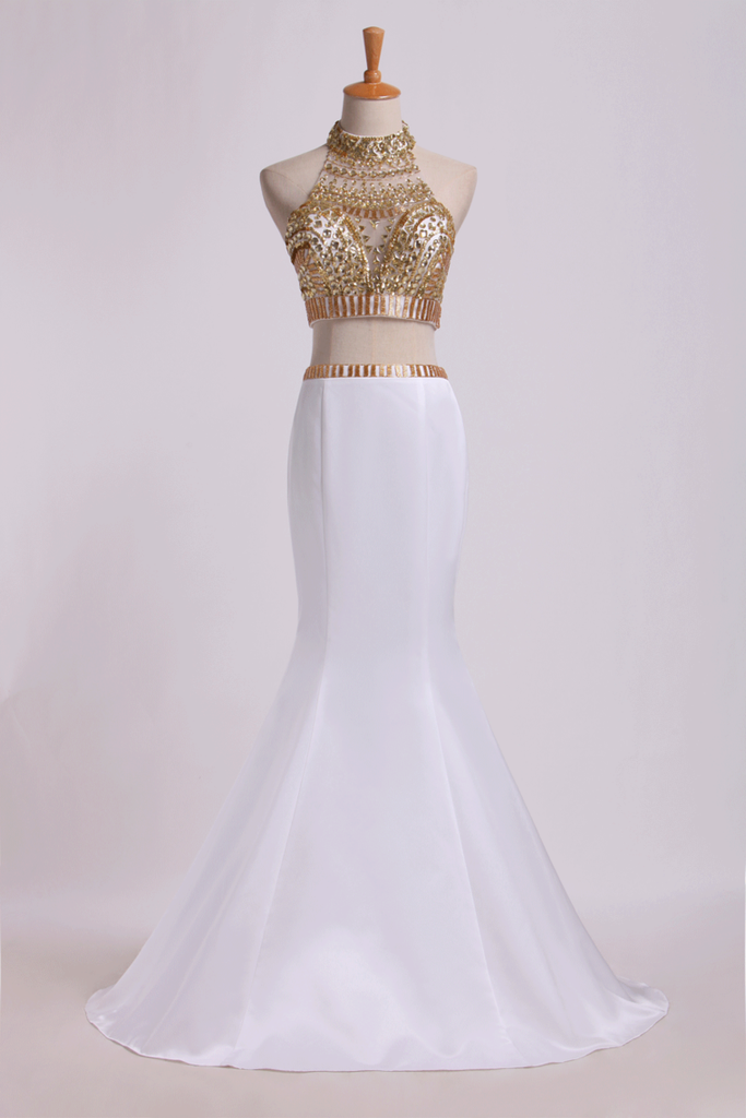 2019 Two Pieces Beaded Bodice High Neck Prom Dresses Trumpet Sweep