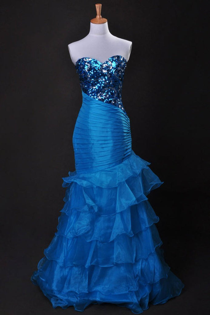 Cheap Prom Dresses Blue Sweetheart Floor Length Organza Taffeta
