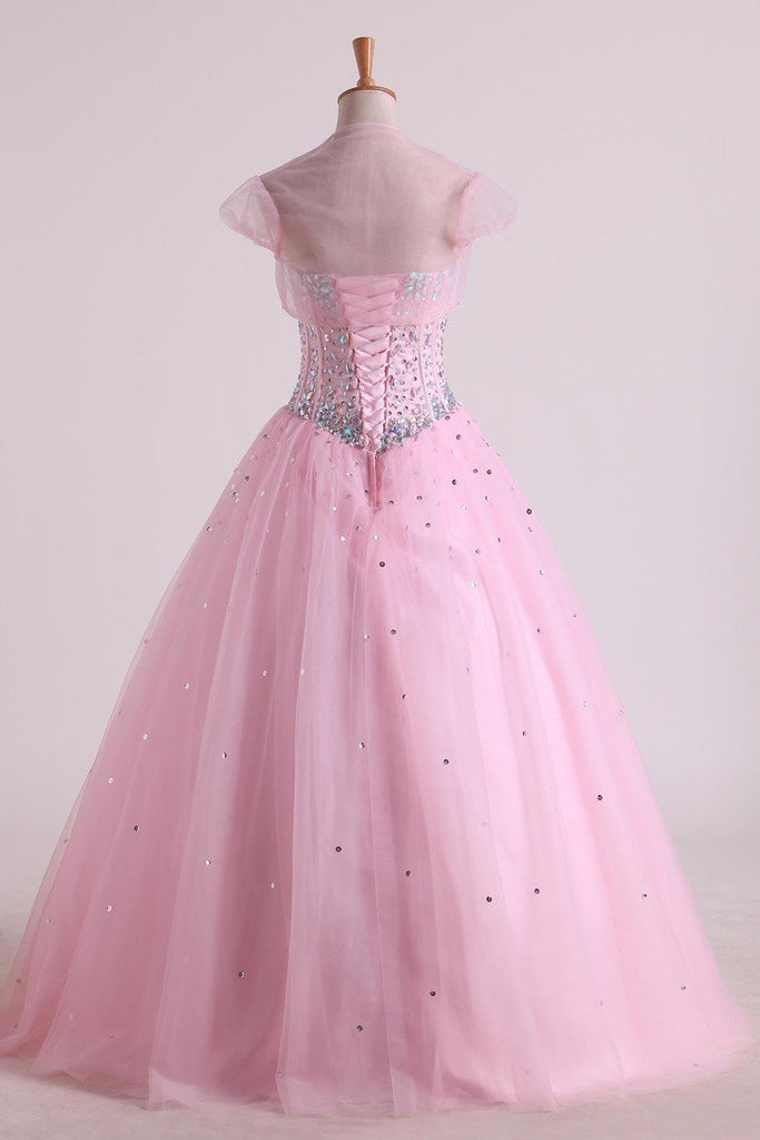 2019 Sweetheart Beaded Bodice Quinceanera Dresse Tulle Floor