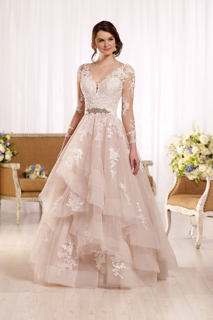 2019 New Arrival V Neck Long Sleeves Tulle With Applique Wedding Dresses A