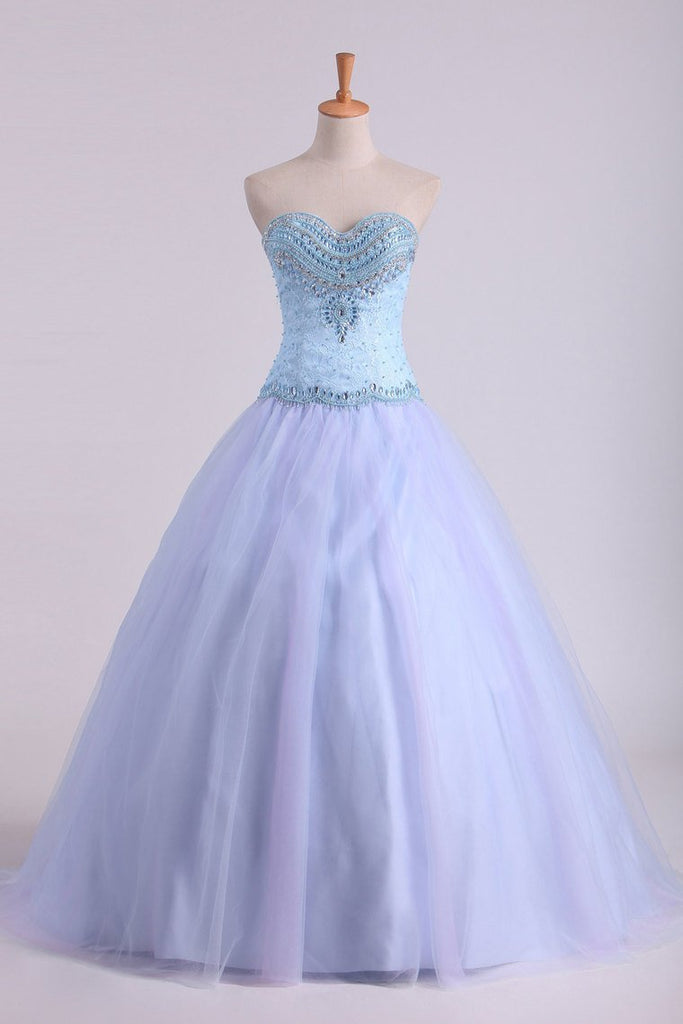 2019 Ball Gown Sweetheart Prom Dresses Tulle & Lace With Beading