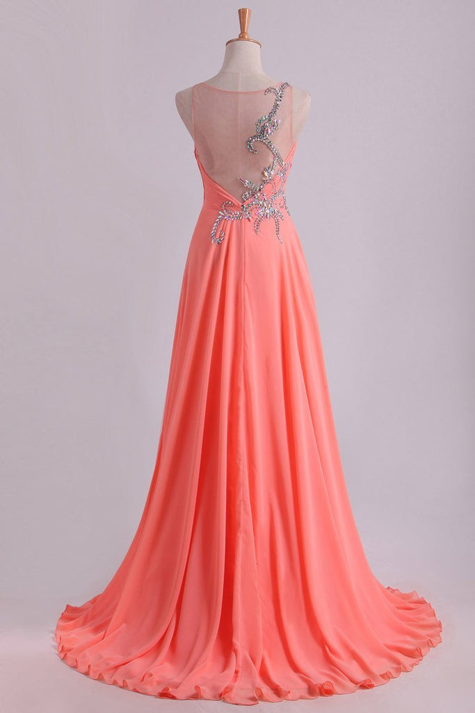 2019 Prom Dress Bateau Fitted And Ruffled Bodice With Long Chiffon Skirt Sweep Train