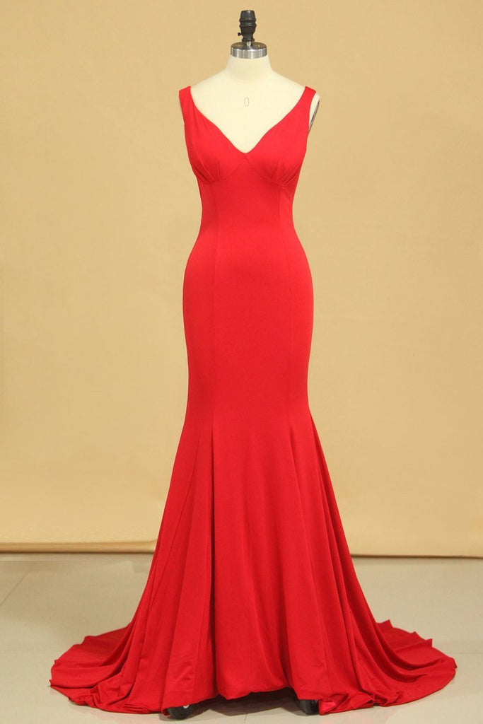 2019 Mermaid Off The Shoulder Red Spandex Evening Dresses
