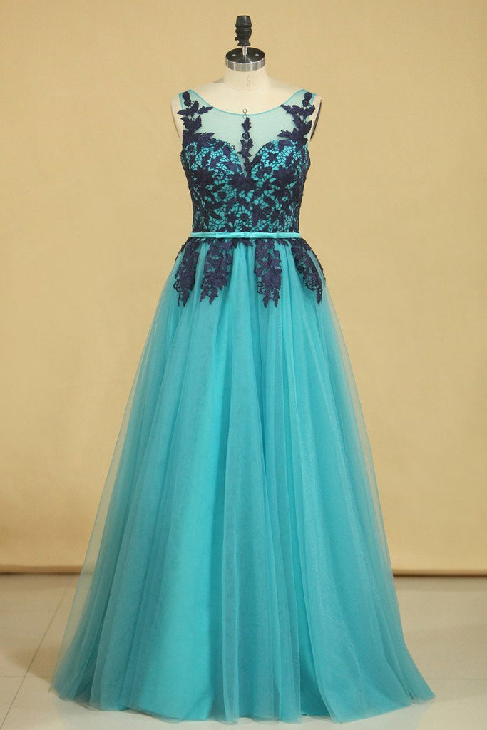 2019 Hot Scoop Prom Dresses Tulle A Line With Applique And Sash