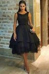 Generous Open Back Knee-Length Black Homecoming Dress with Appliques Beading