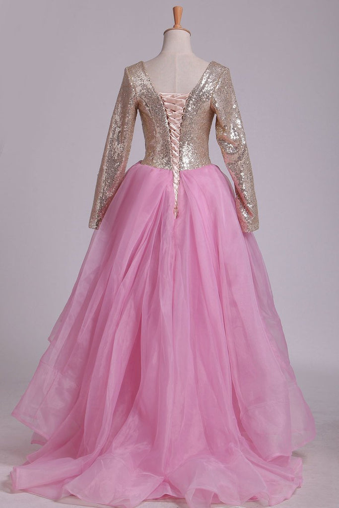 2019 Long Sleeves Scoop Asymmetrical Sequined Bodice Prom Dresses A Line