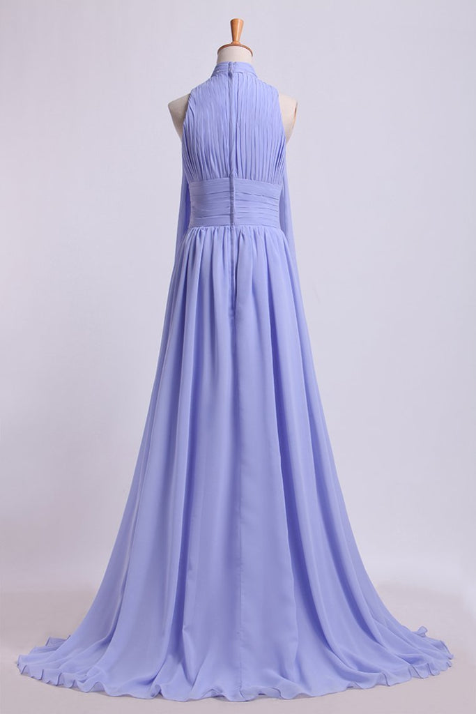2019 High Neck Pleated Bodice Prom Dresses A-Line Chiffon Sweep Train