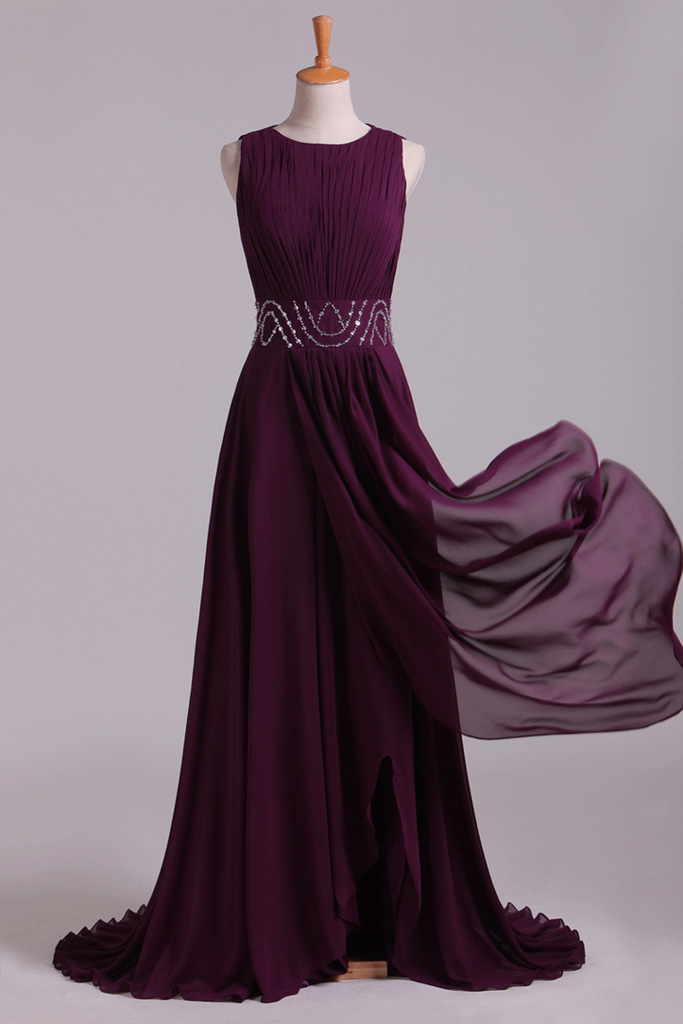 2019 Prom Dresses A-Line Bateau Floor-Length Chiffon With Beads & Ruffles