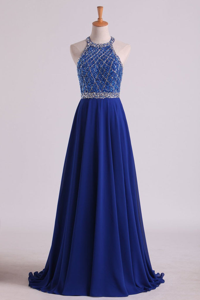 2019 A Line Prom Dresses Halter Beaded Bodice Open Back Sweep Train Chiffon & Tulle Dark Royal Blue