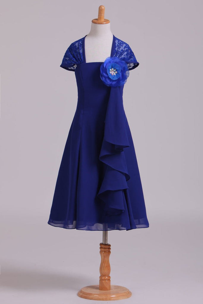 2019 Eyelid Lace Back Flower Girl Dress A Line Chiffon & Lace With Flower Dark Royal Blue