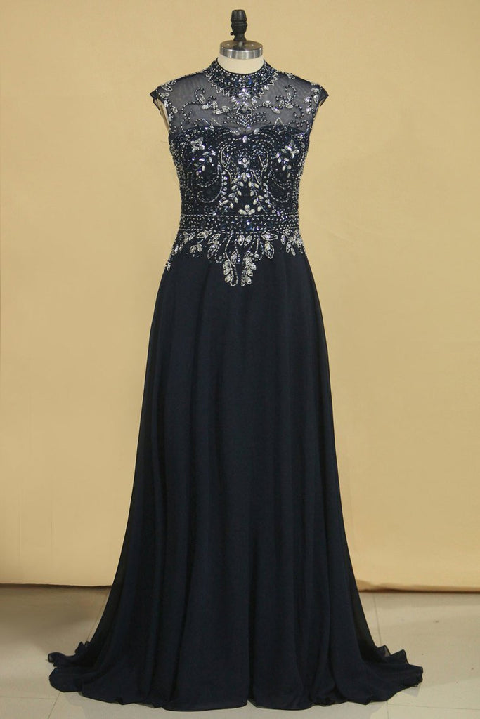 2019 A Line High Neck Beaded Bodice Prom Dresses Open Back Chiffon