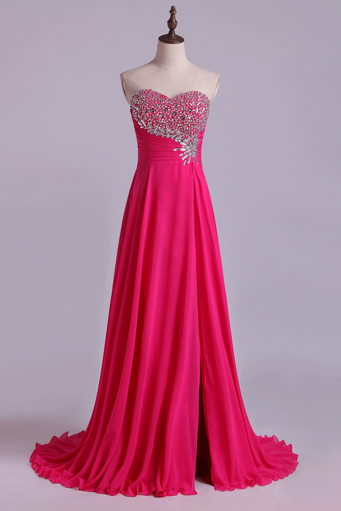 2019 Sweetheart Beaded Bust Prom Dresses A-Line Sweep Train