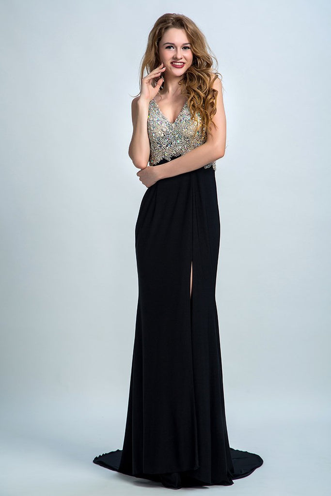 2019 Prom Dresses Full Beaded Bodice Backless Chiffon Sweep Train Black