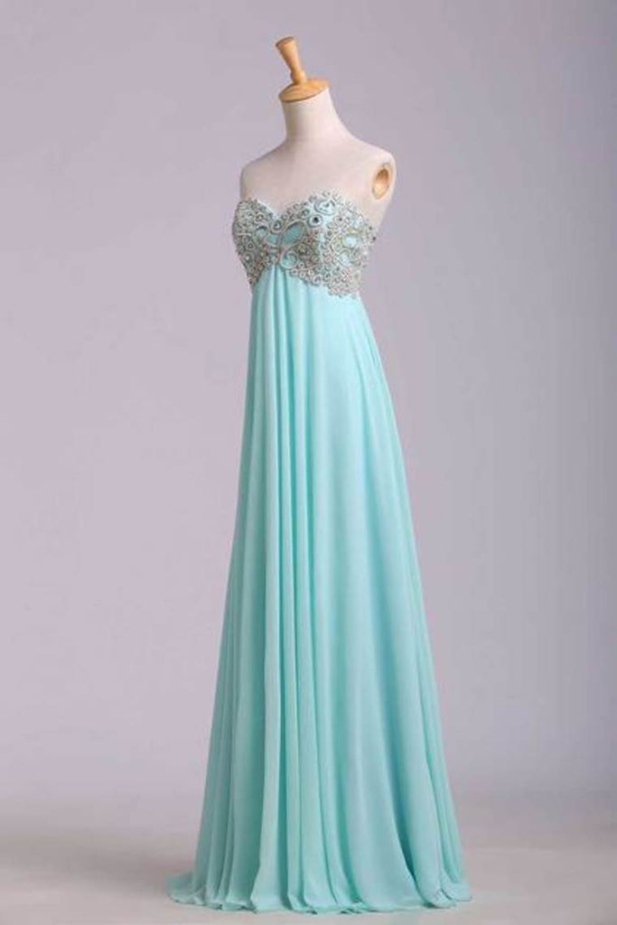 2019 Prom Dresses A Line Sweetheart Floor Length Chiffon