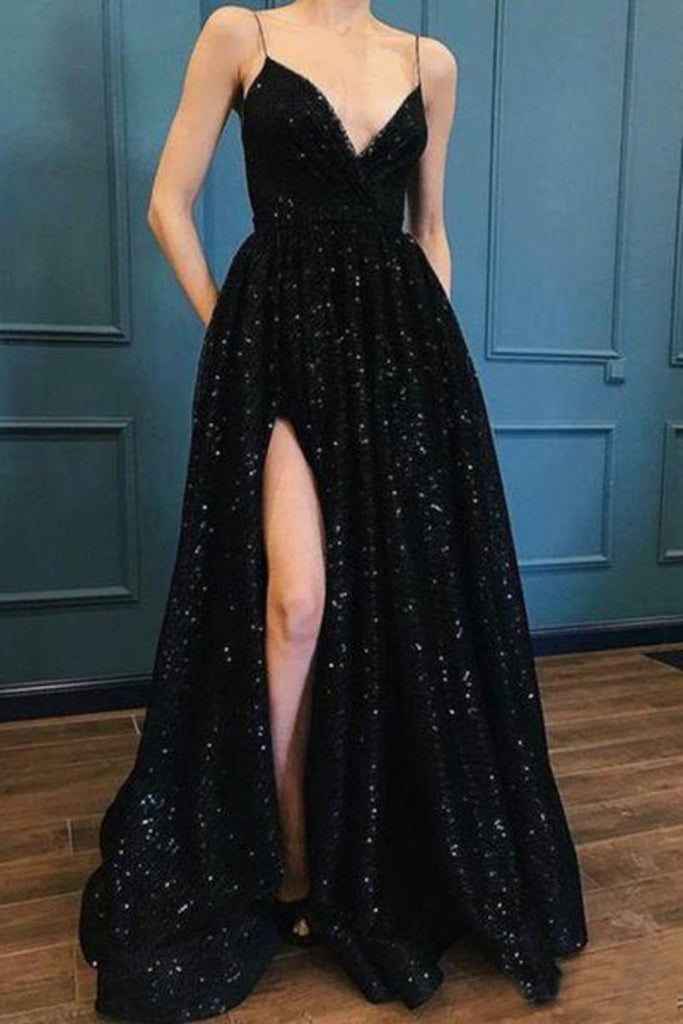 Sparkle Sequin Spaghetti Strap Black Long Prom Dresses With Slit Evening