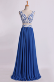 2019 Two Pieces A Line Prom Dresses Chiffon Floor Length With