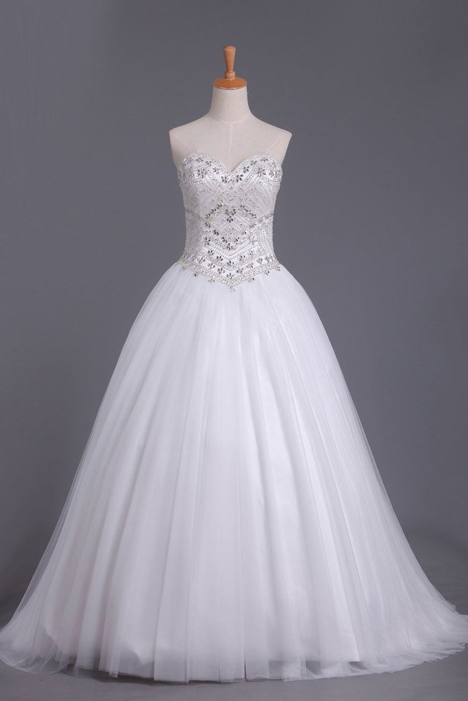 2019 Sweetheart Tulle Wedding Dresses A Line With Beading Court