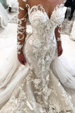2019 Detachable Train Long Sleeves Scoop Mermaid Wedding Dresses With Applique
