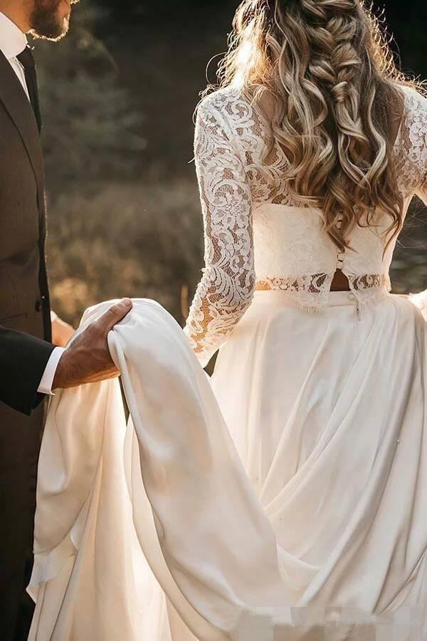 Buy Long Sleeve Two Pieces Lace Round Neck Beach Wedding Dresses Chiffon Boho Bridal Gowns Ssa14979 Online Sisastore,Casual Wedding Dresses For Older Women