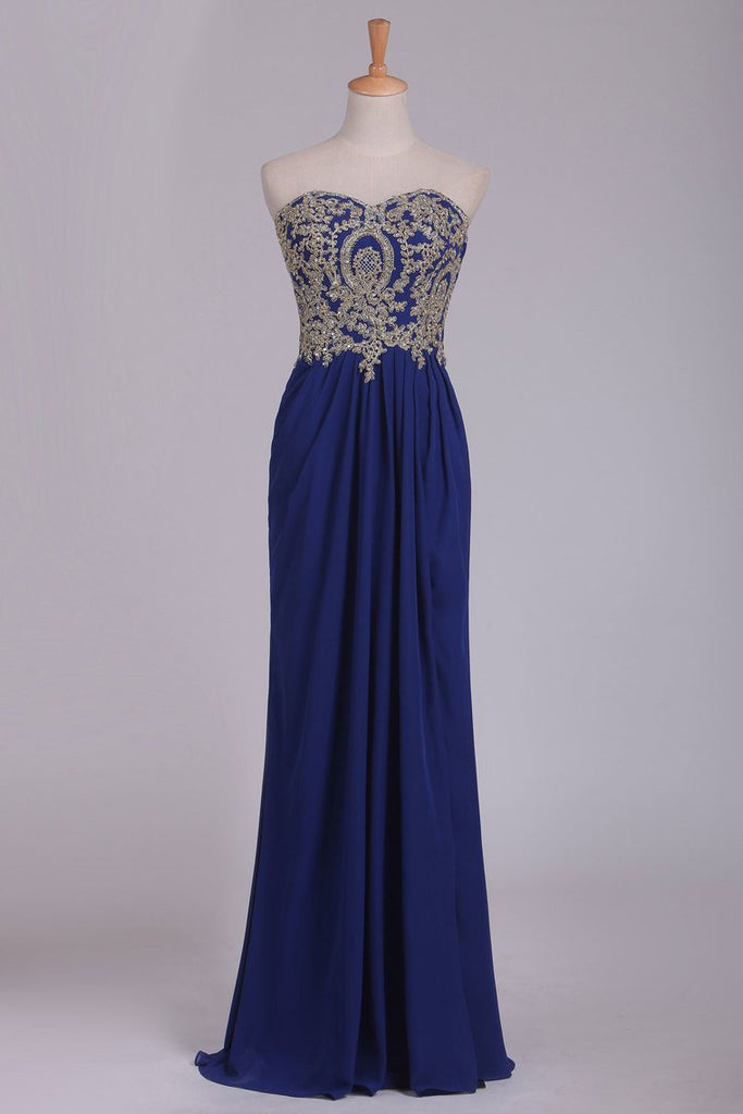 2019 Sweetheart Prom Dresses A Line With Applique & Beads Floor