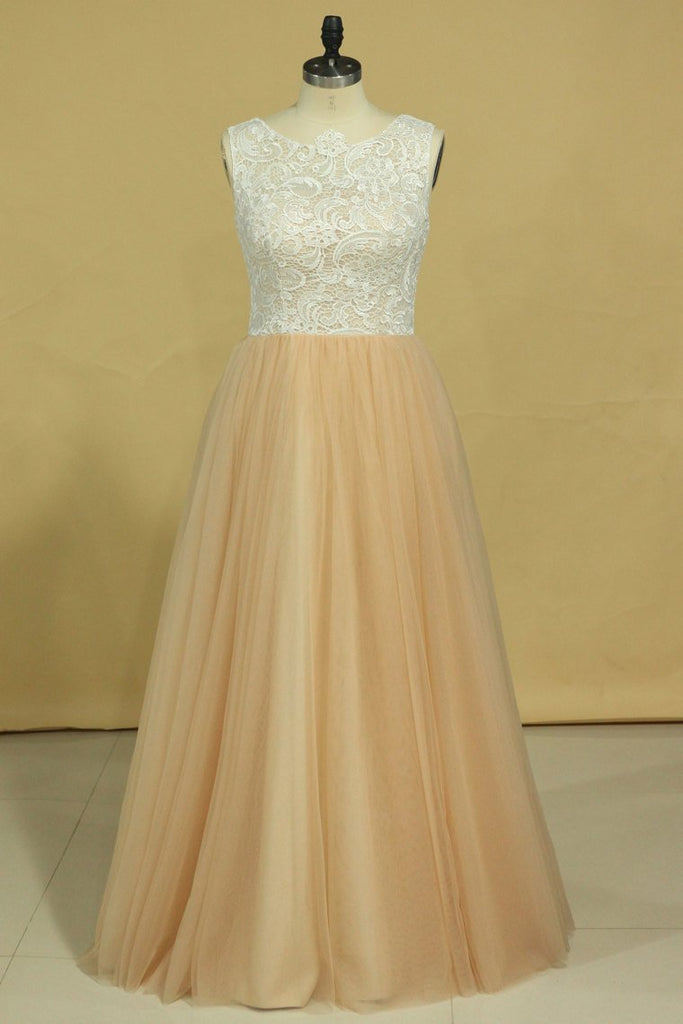 2019 Plus Size Scoop A Line Prom Dresses Tulle & Lace Floor Length