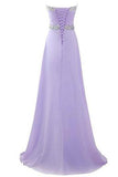 Long Chiffon Prom Dress 2019 Evening Gown Crystal Beaded