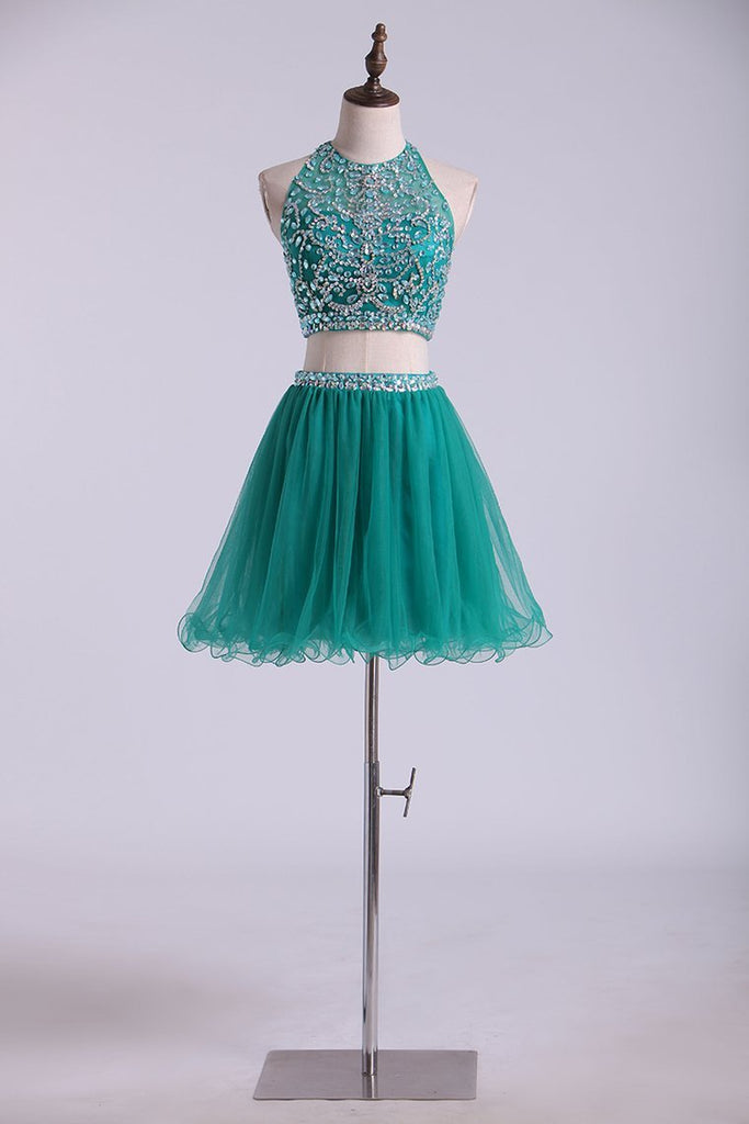 2019 Halter Homecoming Dresses Two-Piece Short Beaded Bodice Tulle