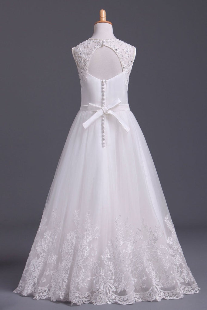 2019 Scoop Flower Girl Dresses A Line Tulle Ankle Length With