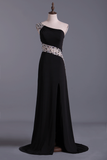 2019 Prom Dresses A Line One Shoulder With Slit And Beading Sweep Train