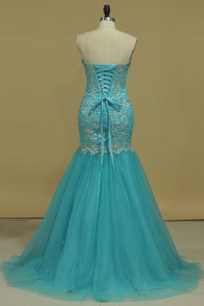 2019 Sweetheart Prom Dresses Mermaid/Trumpet With Applique And Beads