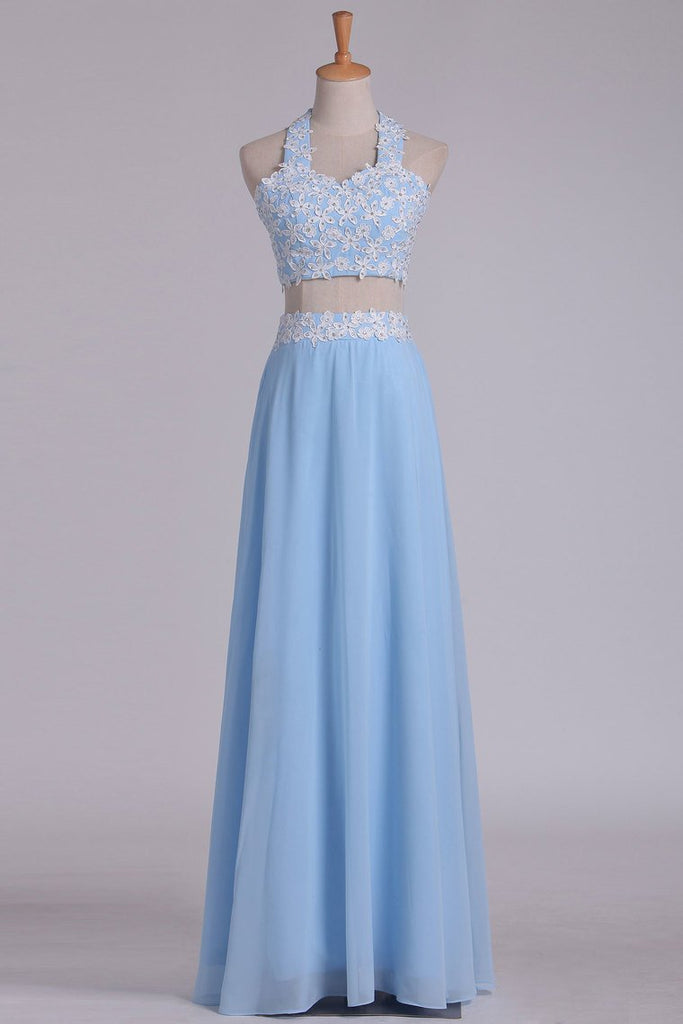 2019 A Line Halter Two Pieces Chiffon With Applique Prom Dresses