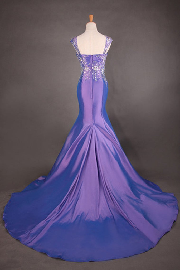 2019 Off The Shoulder Court Train Mermaid Fancy Prom Dress
