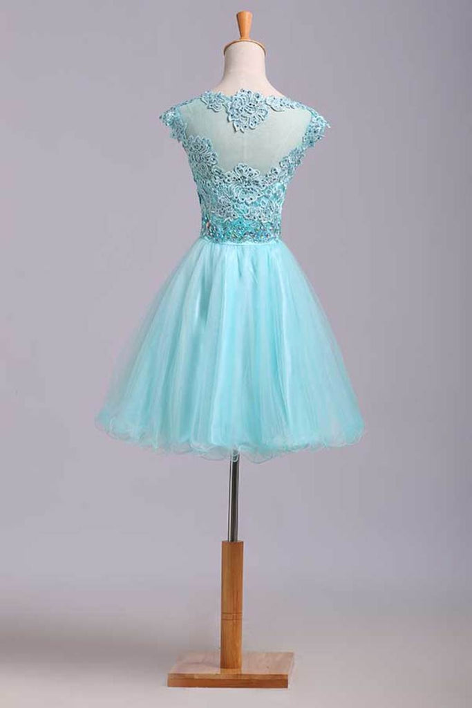 2019 Homecoming Dresses A Line Scoop Short/Mini Tulle&Lace
