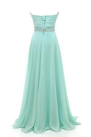 Gorgeous Sweetheart A-line Strapless Chiffon Crystal Floor-Length Long Prom Dresses