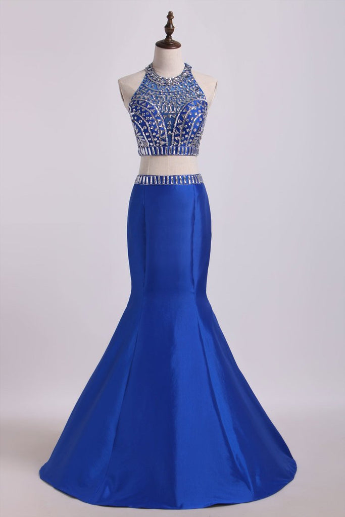 2019 Two Pieces High Neck Mermaid Prom Dresses With