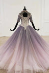 Sparkly Ball Gown Ombre Half Sleeves Jewel Long Prom Dresses, Beads Quinceanera Dresses SSA15601