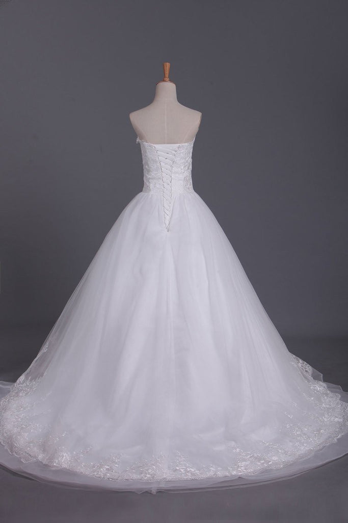2019 Vintage Wedding Dresses Sweetheart A Line Tulle With Applique And