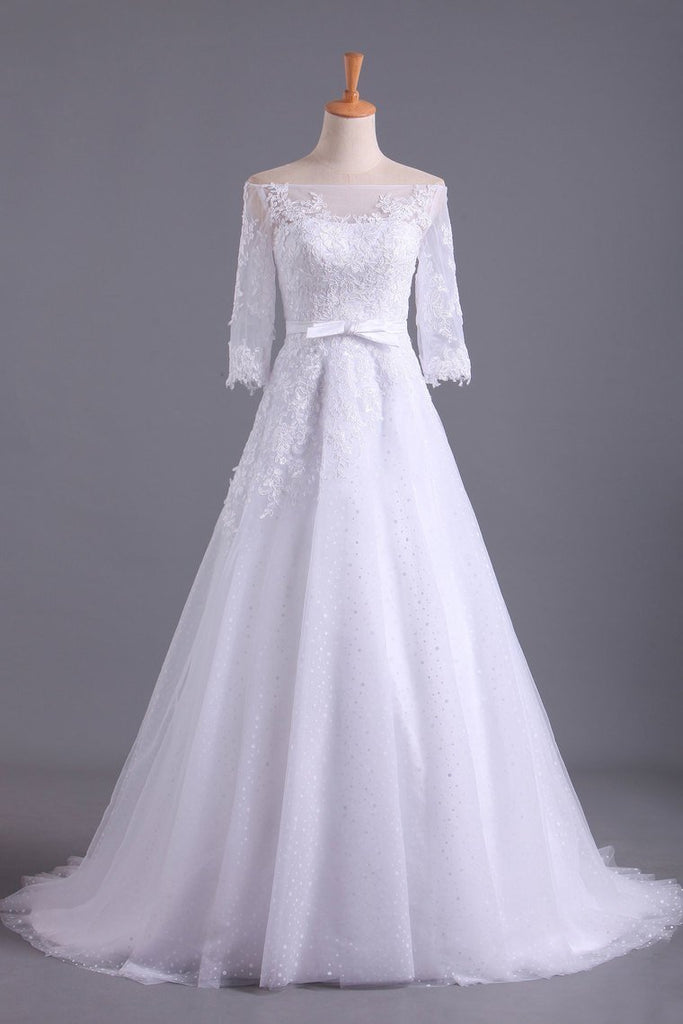 2019 Shiny Wedding Dresses Bateau Half Length Sleeve A Line With