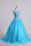 2019 Scoop Quinceanera Dresses Open Back Beaded Bodice Tulle Lace