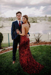 Sexy Mermaid Sequins Burgundy Long Prom Dresses, Cheap Evening Dresses SSA15341