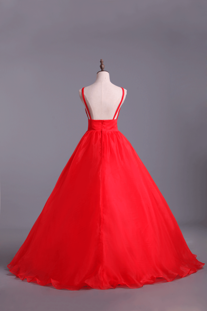 2019 Deep V Neckline Prom Dress Organza Floor Length Backless Sexy Red