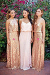 Cheap Pink Lace Sparkly Sequin Gold Mismatched Bridesmaid Dresses, Long Prom Dresses SSA15129
