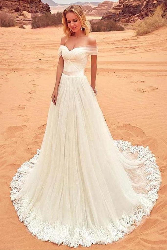 Charming Off The Shoulder Tulle Long Beach Wedding Dress With SSAPYAQGZNX